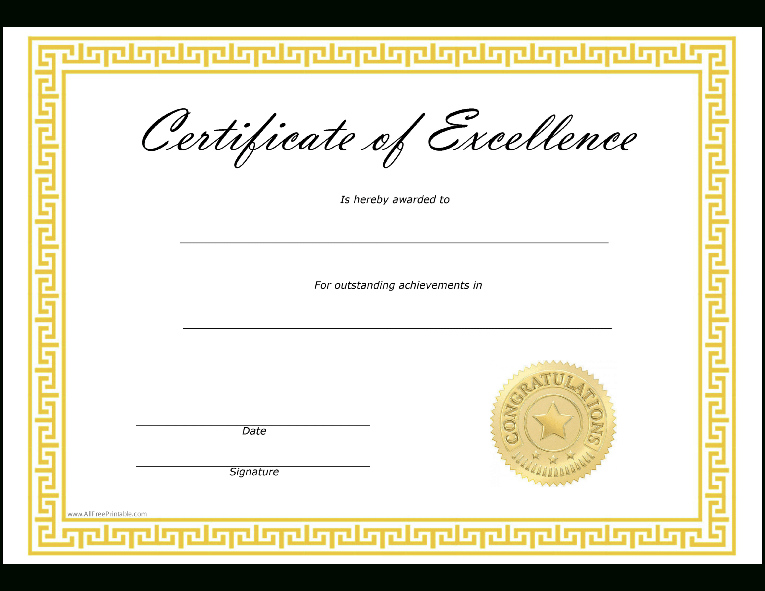 Certificates Of Excellence Templates - Zohre Pertaining To Certificate Of Excellence Template Free Download
