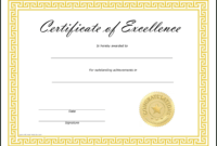 Certificates Of Excellence Templates - Zohre pertaining to Free Certificate Of Excellence Template