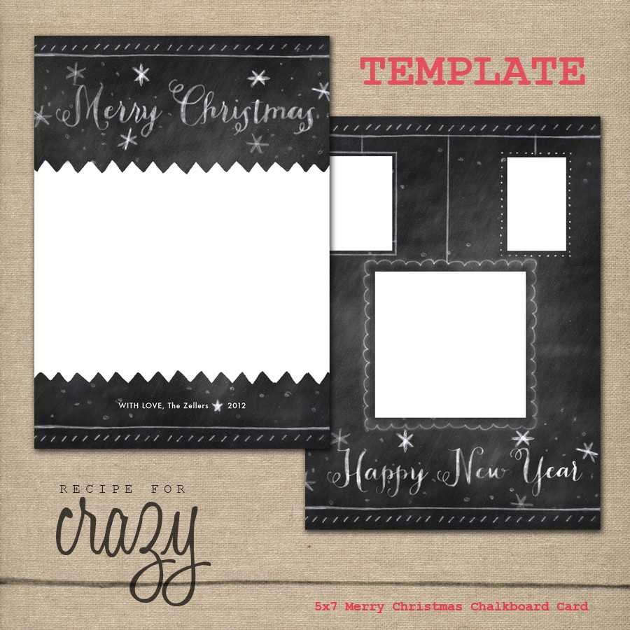 Chalkboard Christmas Card Template Free Penaime Com Holiday With Regard To Free Christmas Card Templates For Photographers