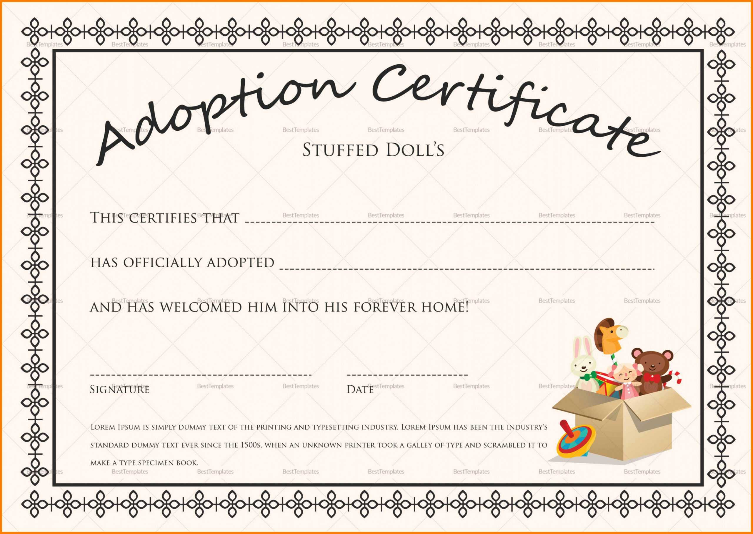 Child Adoption Certificate Template For Blank Adoption Certificate Template