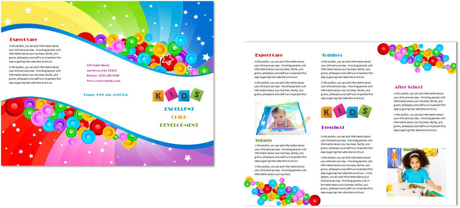 Child Care Brochure Template 7 In Daycare Brochure Template