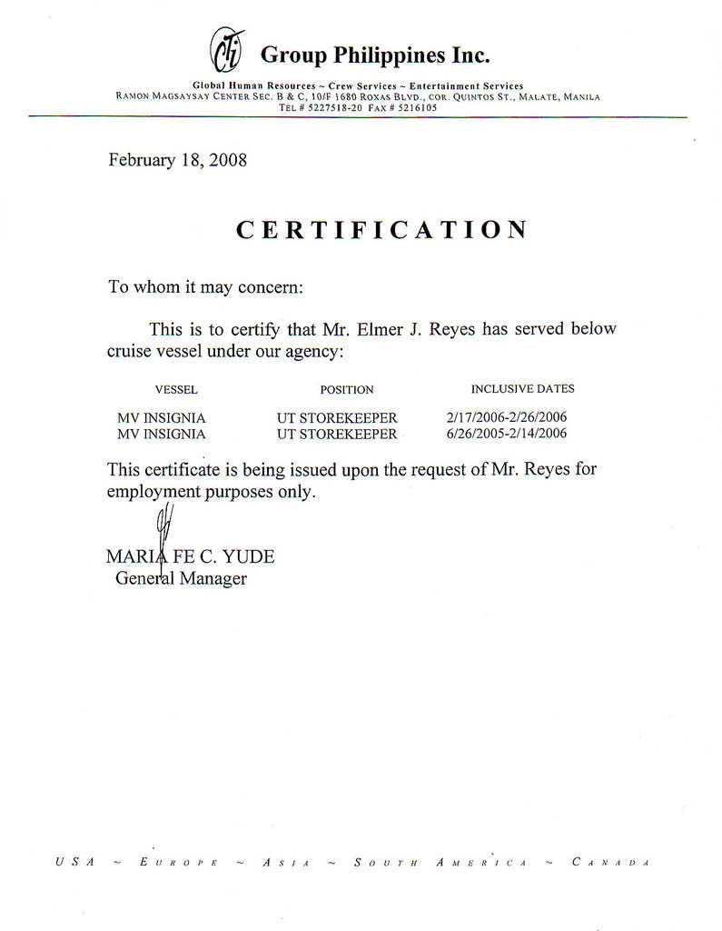 Chowking Certificate Of Employment – Zohre.horizonconsulting.co With Certificate Of Employment Template
