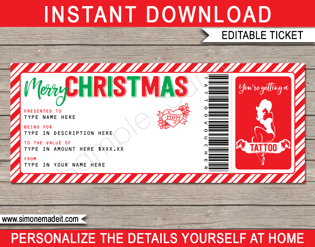 Christmas Tattoo Gift Vouchers Throughout Tattoo Gift Certificate Template