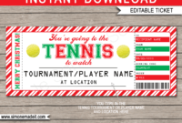 Christmas Tennis Gift Tickets for Tennis Gift Certificate Template