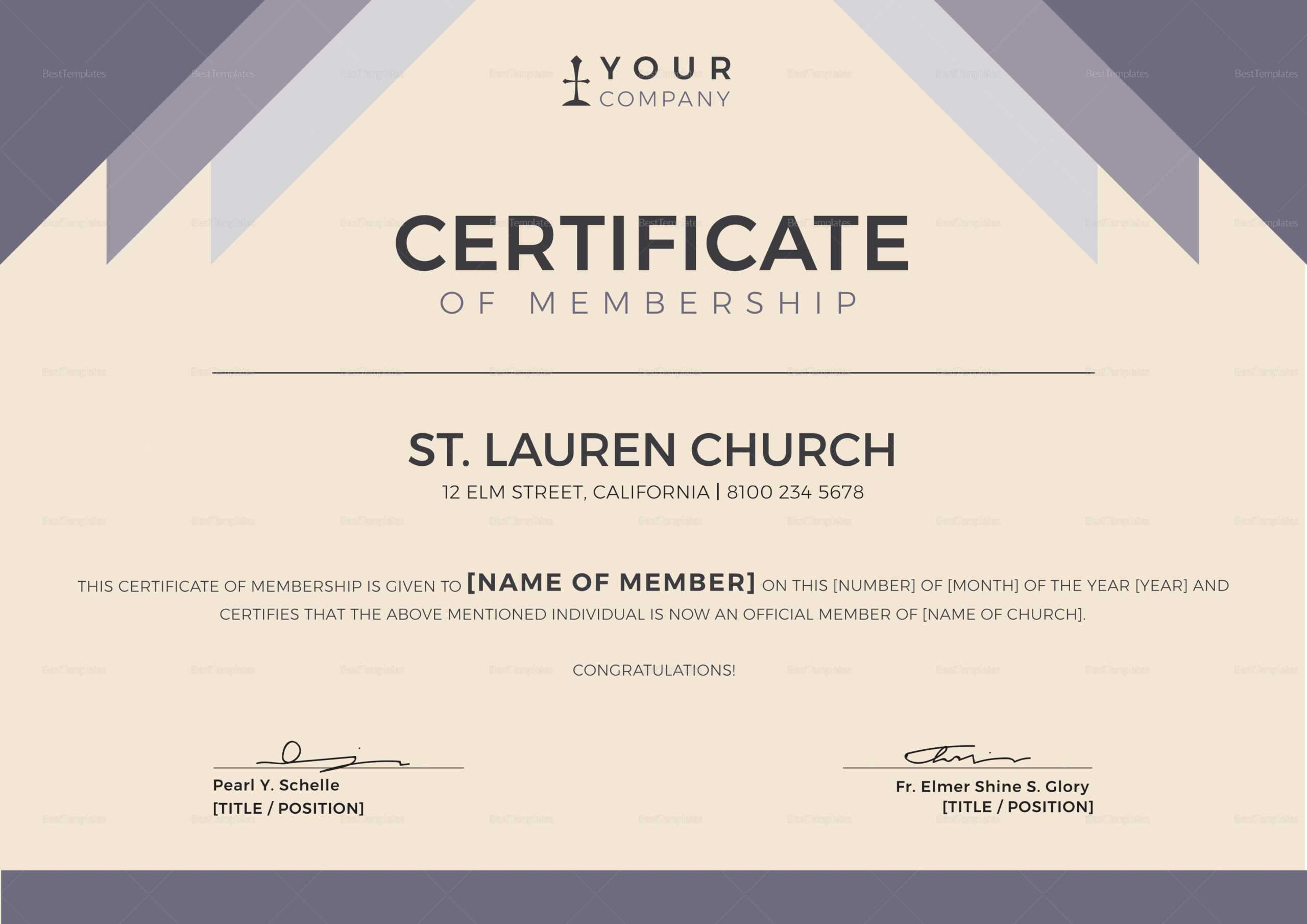 Church Membership Certificate Template With New Member Certificate Template