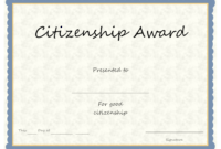 Citizenship Award Certificate Template – Zohre pertaining to Officer Promotion Certificate Template