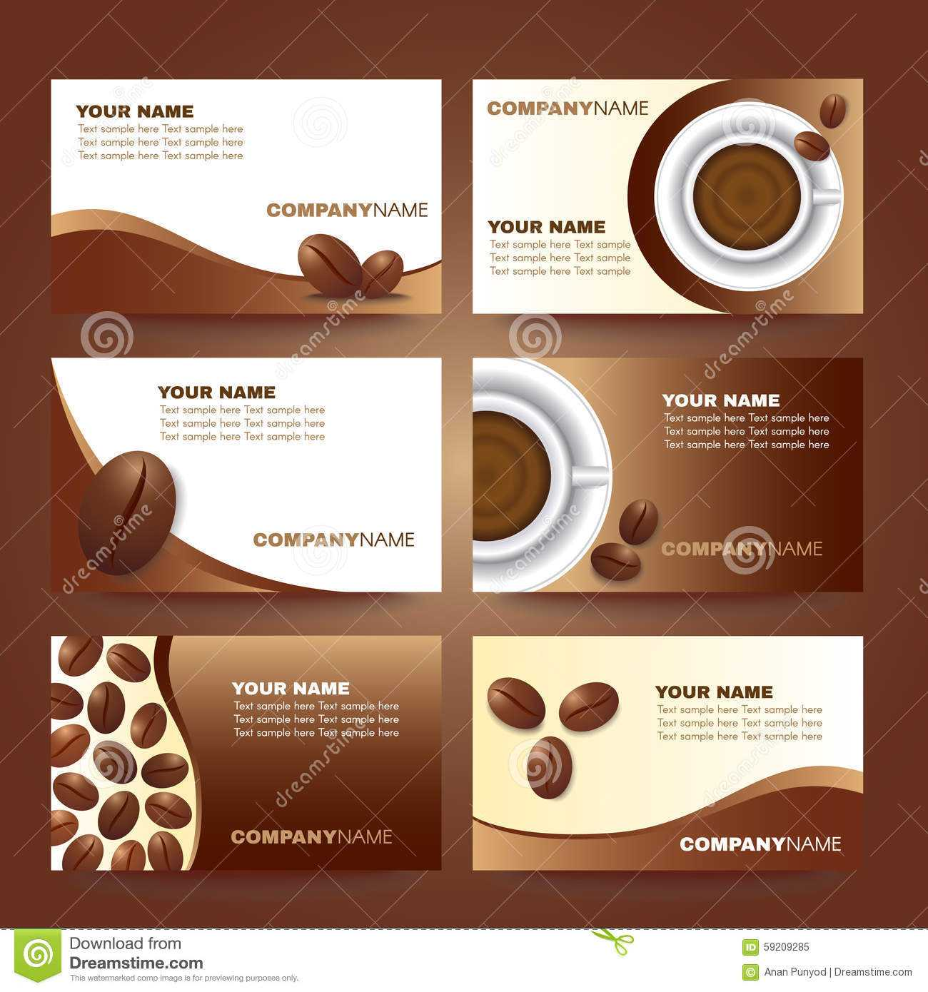 Coffee Business Card Template Vector Set Design Stock Vector Pertaining To Coffee Business Card Template Free