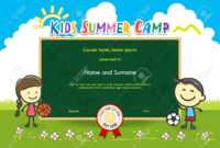 Colorful Kids Summer Camp Diploma Certificate Template In Cartoon.. with Summer Camp Certificate Template