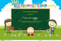 Colorful Kids Summer Camp Diploma Certificate Template In for Basketball Camp Certificate Template