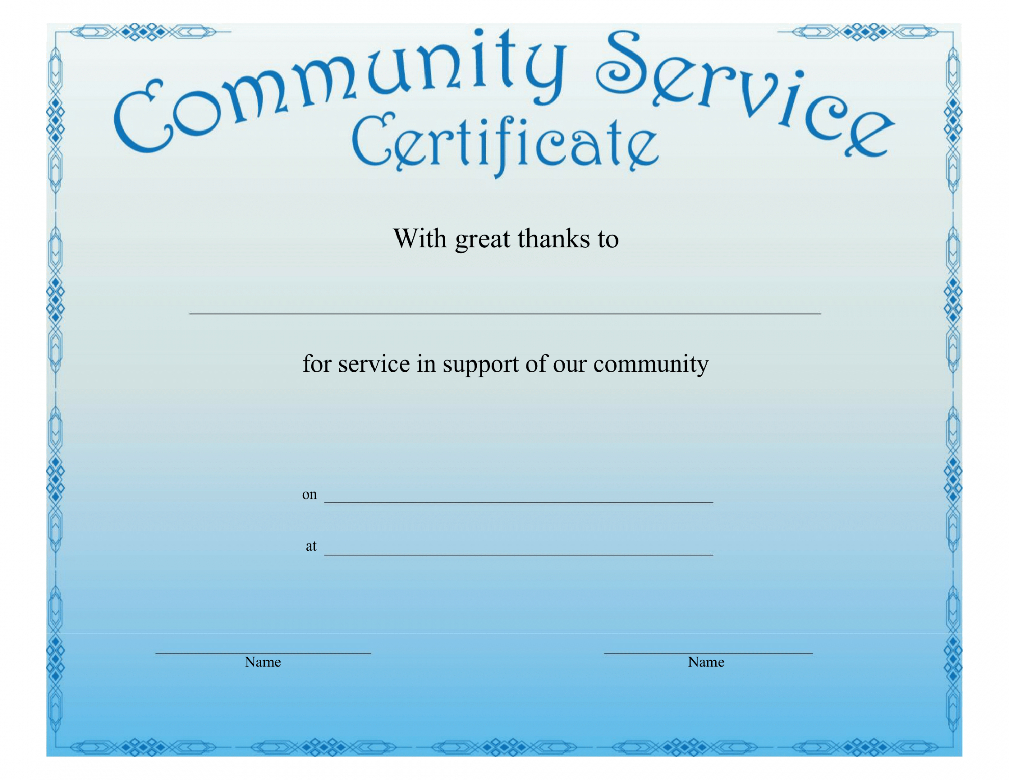 Community Service Certificate Template Regarding This Entitles The Bearer To Template Certificate
