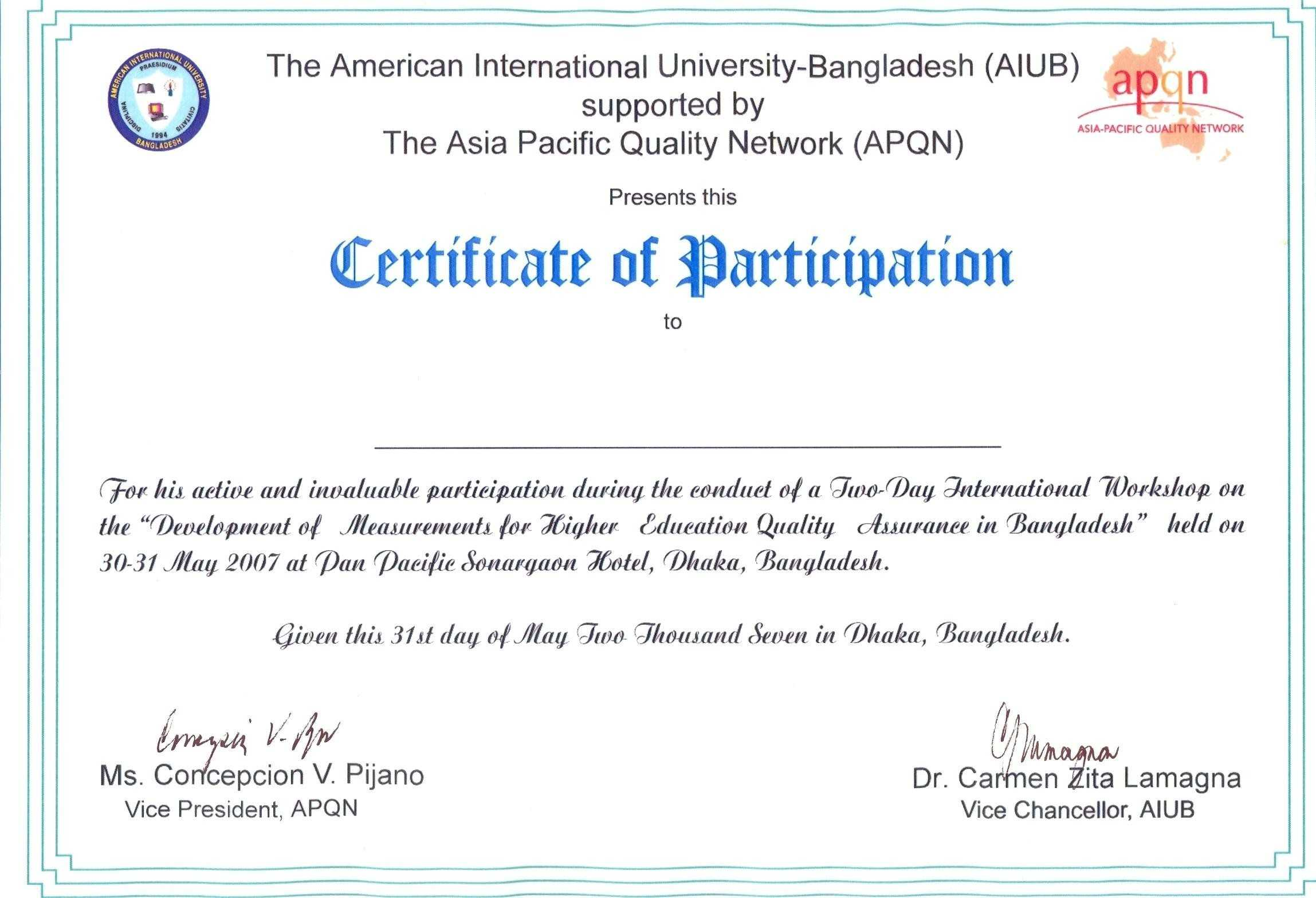 Conference Certificate Format - Mahre.horizonconsulting.co In Sample Certificate Of Participation Template