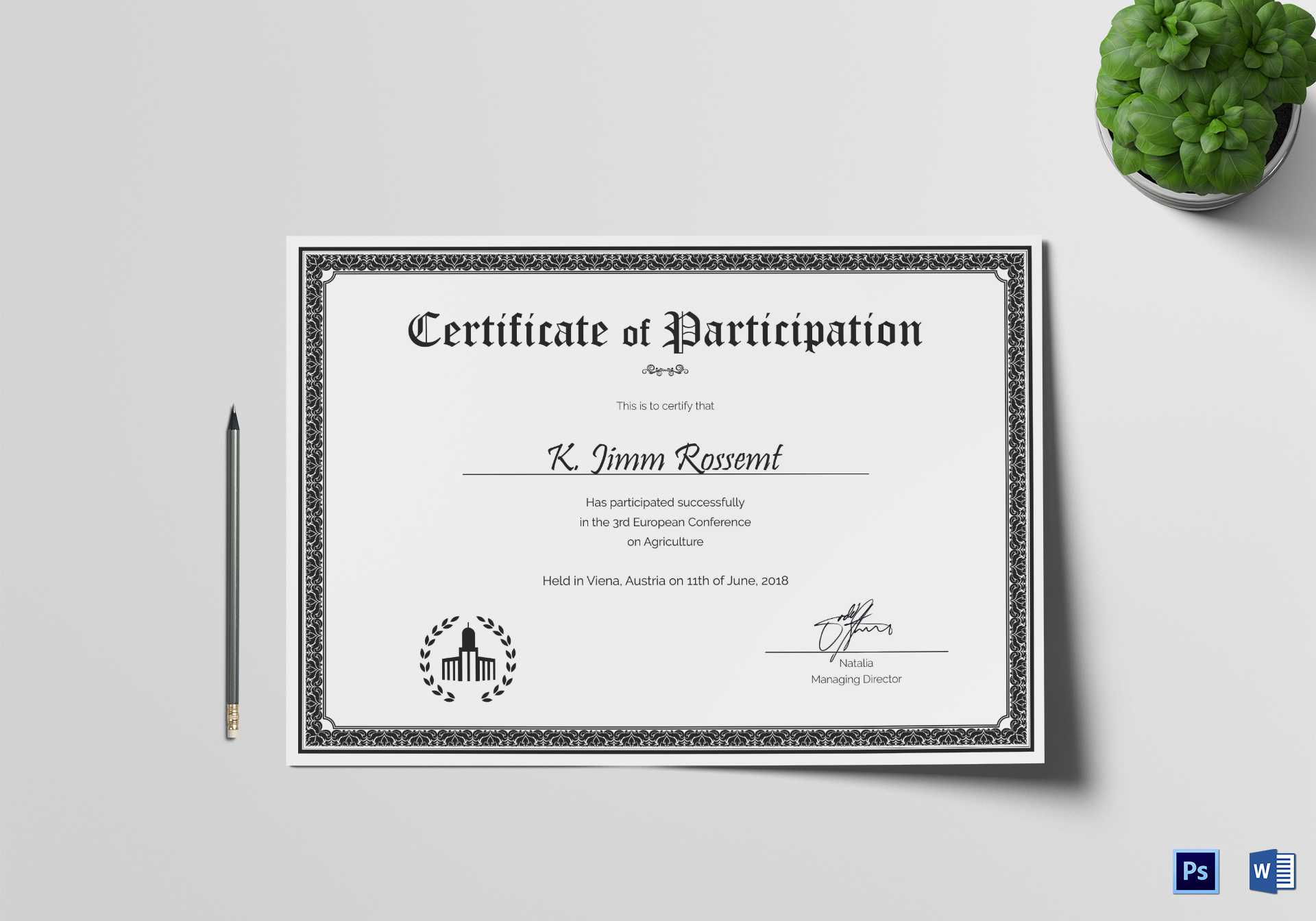 Conference Participation Certificate Template For Conference Participation Certificate Template