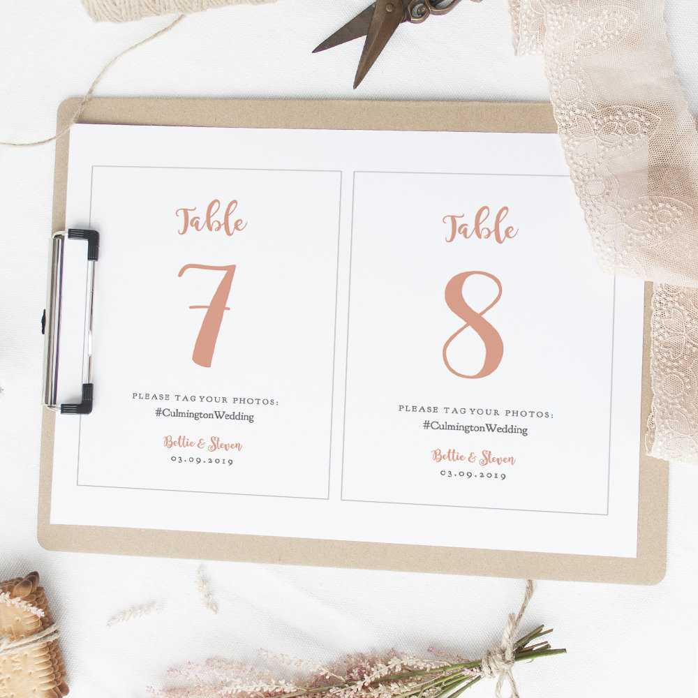Coral Table Number Cards With Photo Hashtag, Diy Table Throughout Table Number Cards Template