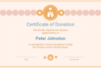 Cream Donation Appreciation Certificate Template within Donation Certificate Template