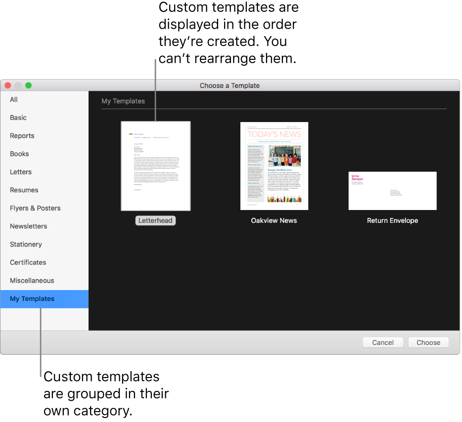 Create A Custom Template In Pages On Mac - Apple Support In Business Card Template Pages Mac