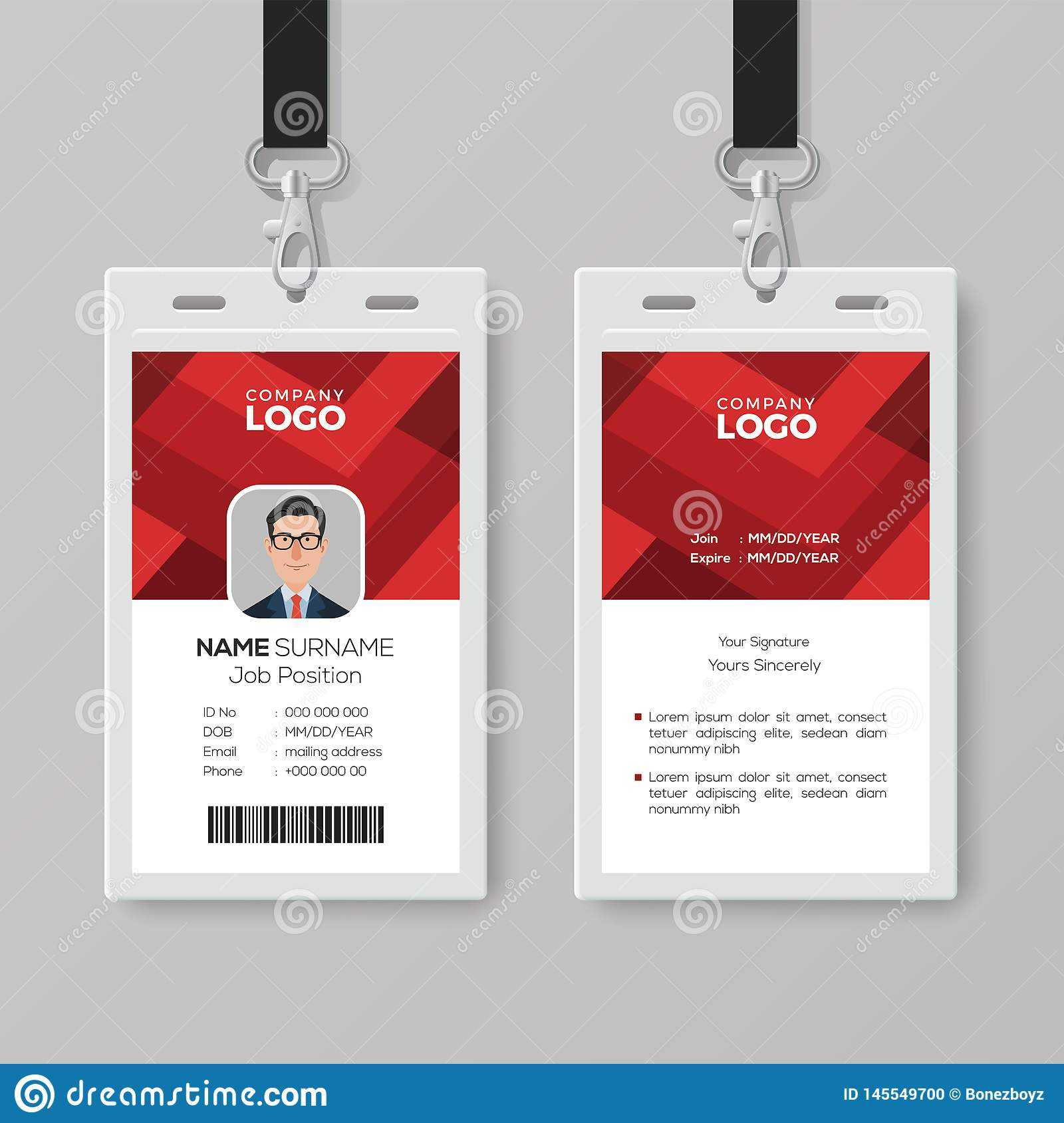 Creative Id Card Template With Abstract Red Background Stock With Conference Id Card Template