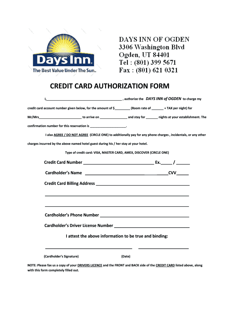 Credit Card Authorization Form - Fill Online, Printable Intended For Hotel Credit Card Authorization Form Template