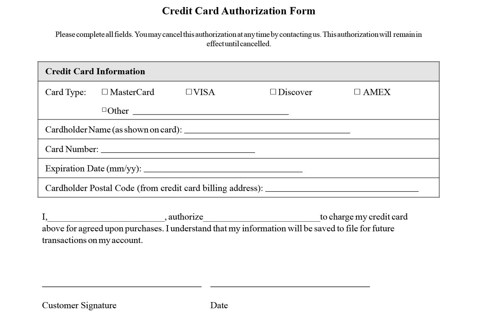 Credit Card Authorization Form Templates [Download] Inside Credit Card On File Form Templates