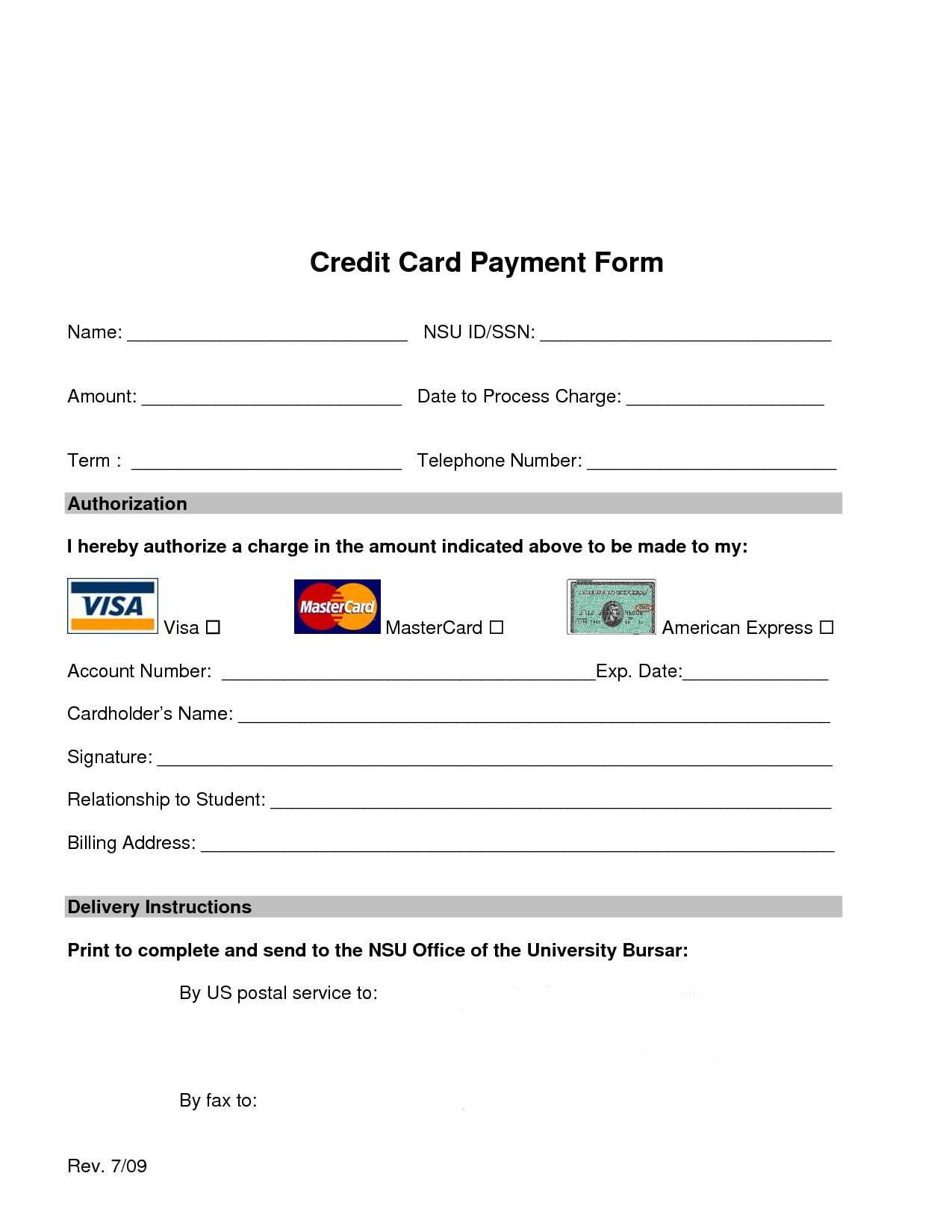 Credit Card Processing Form Template | Josiessteakhouse Inside Credit Card Payment Plan Template
