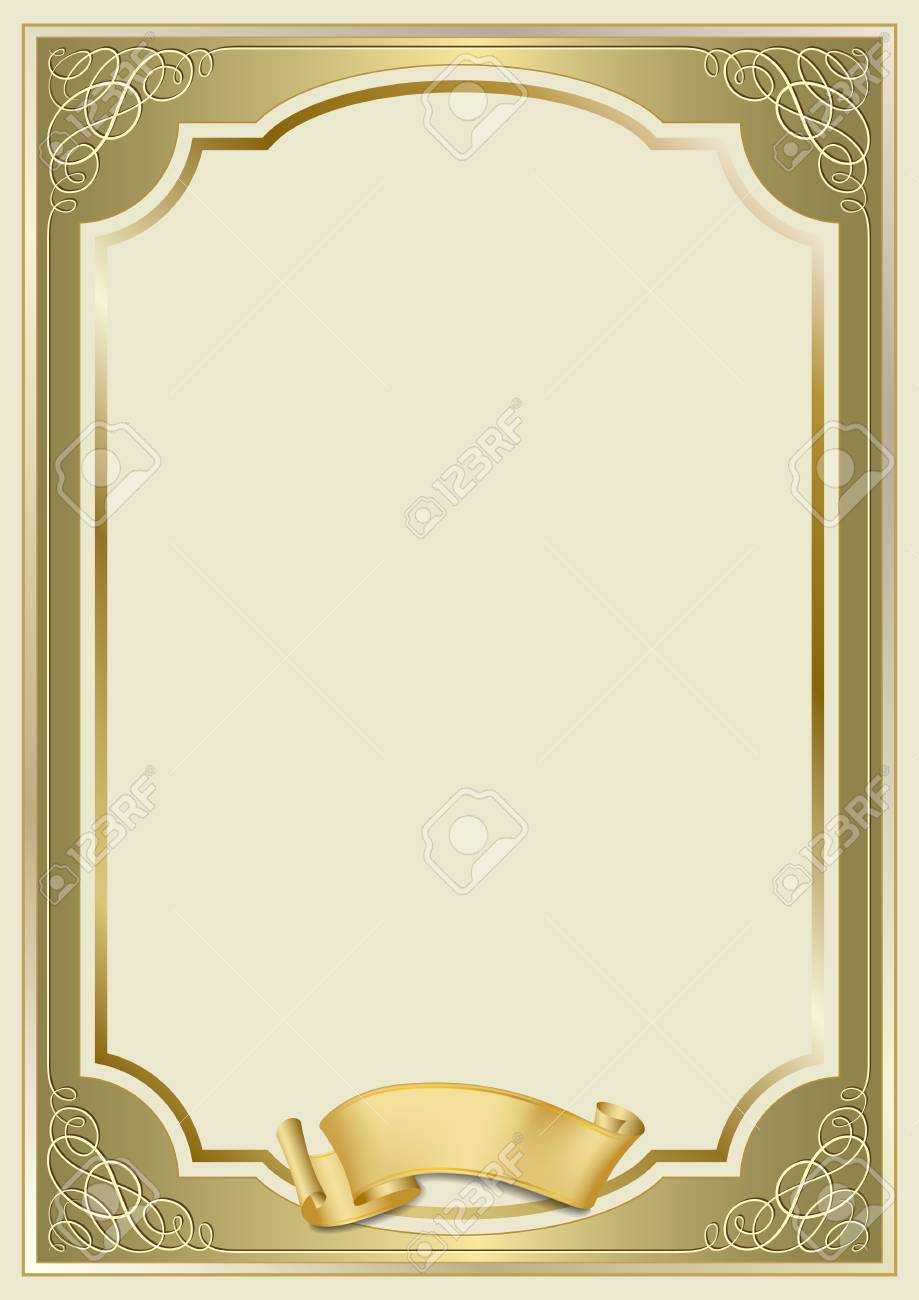 Decorative Rectangular Framework And A Scroll. Template For Diploma,.. Pertaining To Certificate Scroll Template