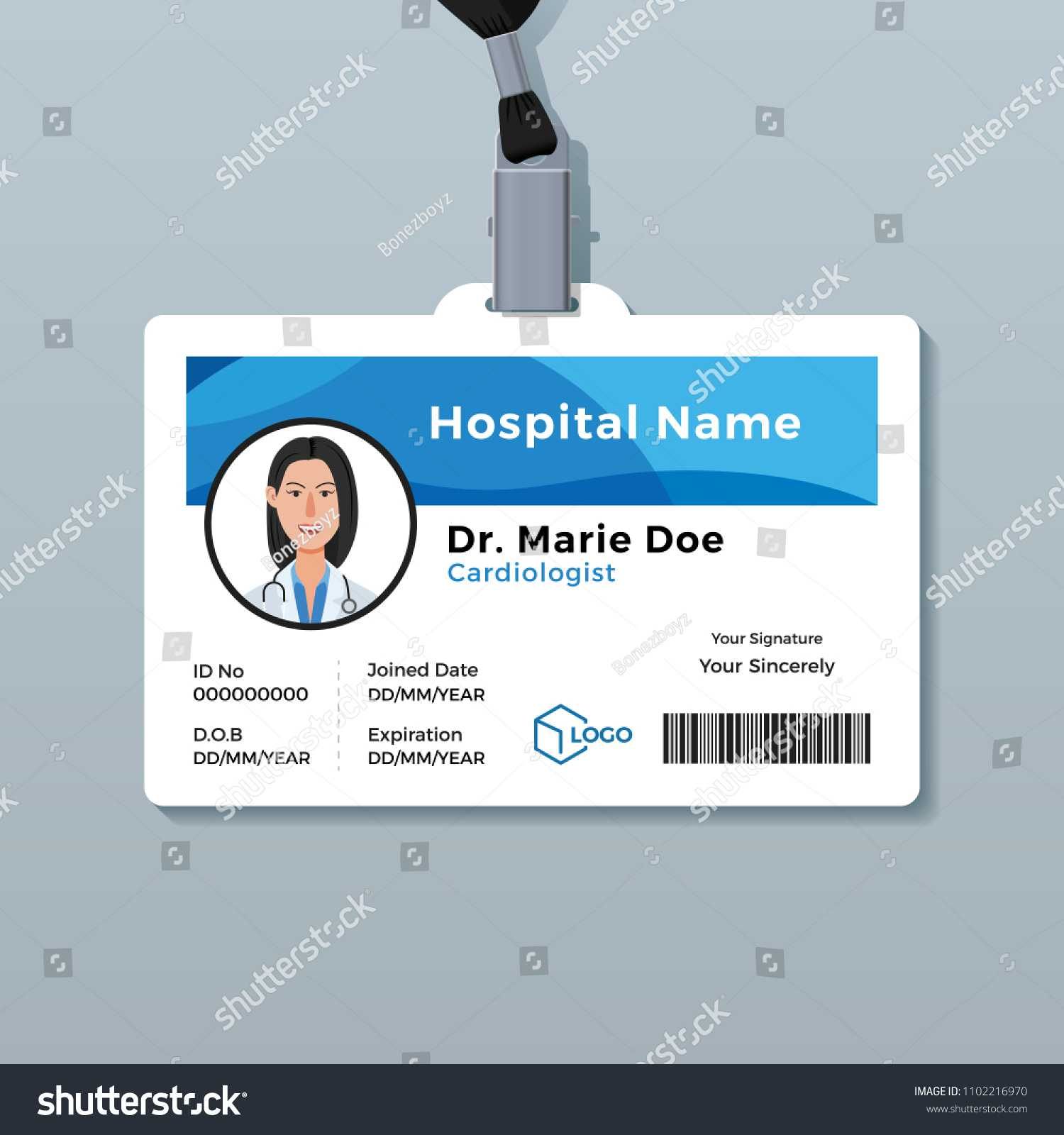 Doctor Id Card Medical Identity Badge Stock Vector (Royalty In Hospital Id Card Template