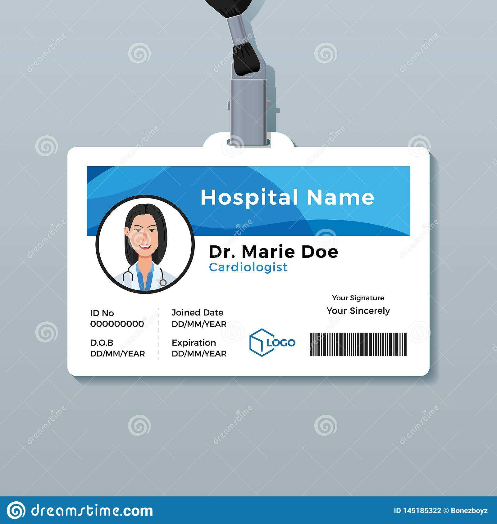 Doctor Id Card. Medical Identity Badge Template Stock Vector With Regard To Doctor Id Card Template
