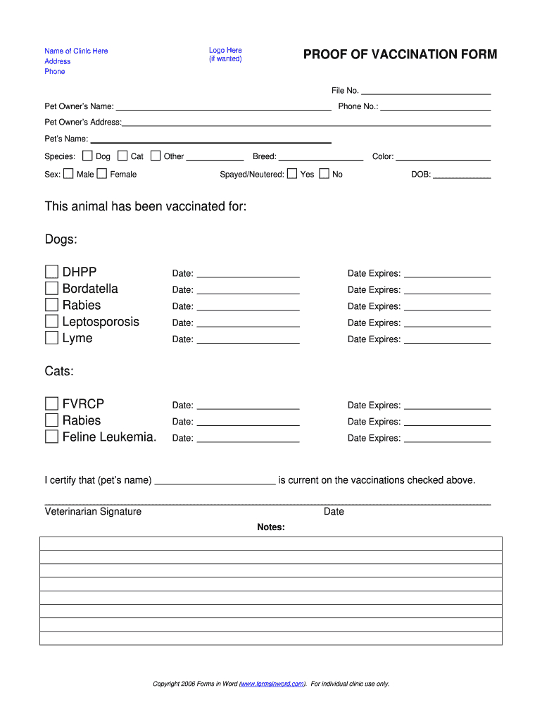 Dog Shot Record - Fill Online, Printable, Fillable, Blank Within Dog Vaccination Certificate Template