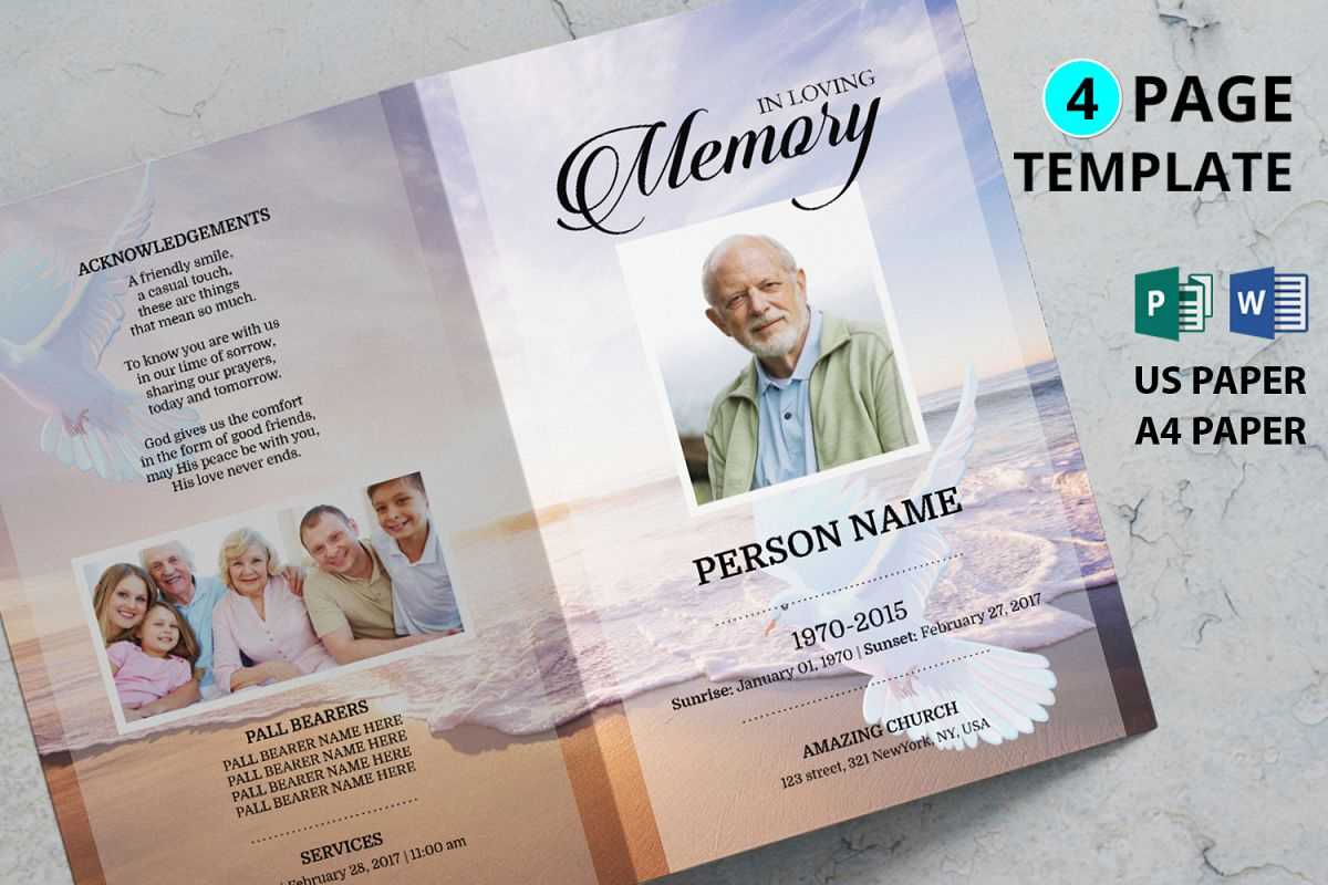 Dove And Beach Funeral Program Template With Memorial Brochure Template