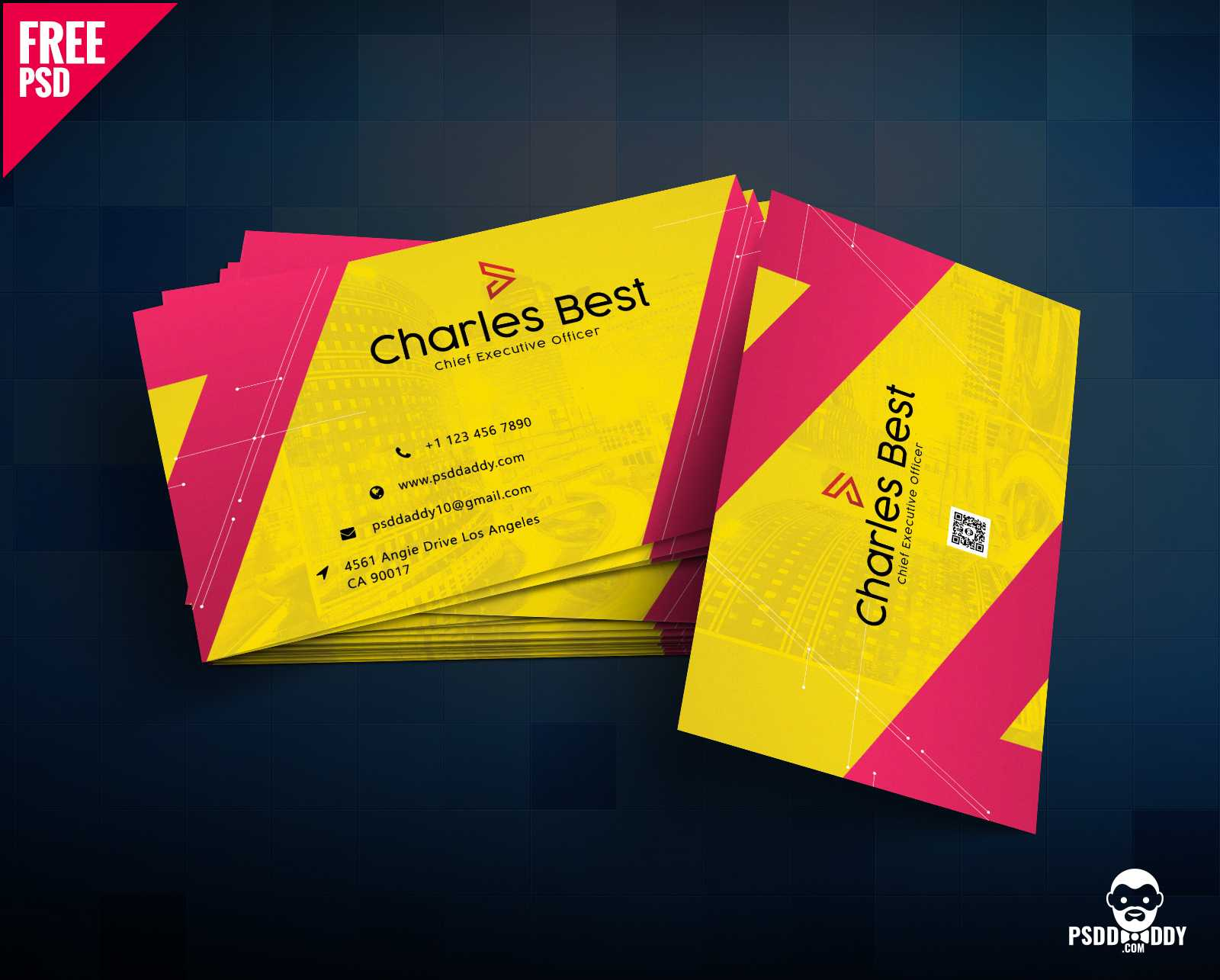 Download] Creative Business Card Free Psd | Psddaddy Within Psd Visiting Card Templates