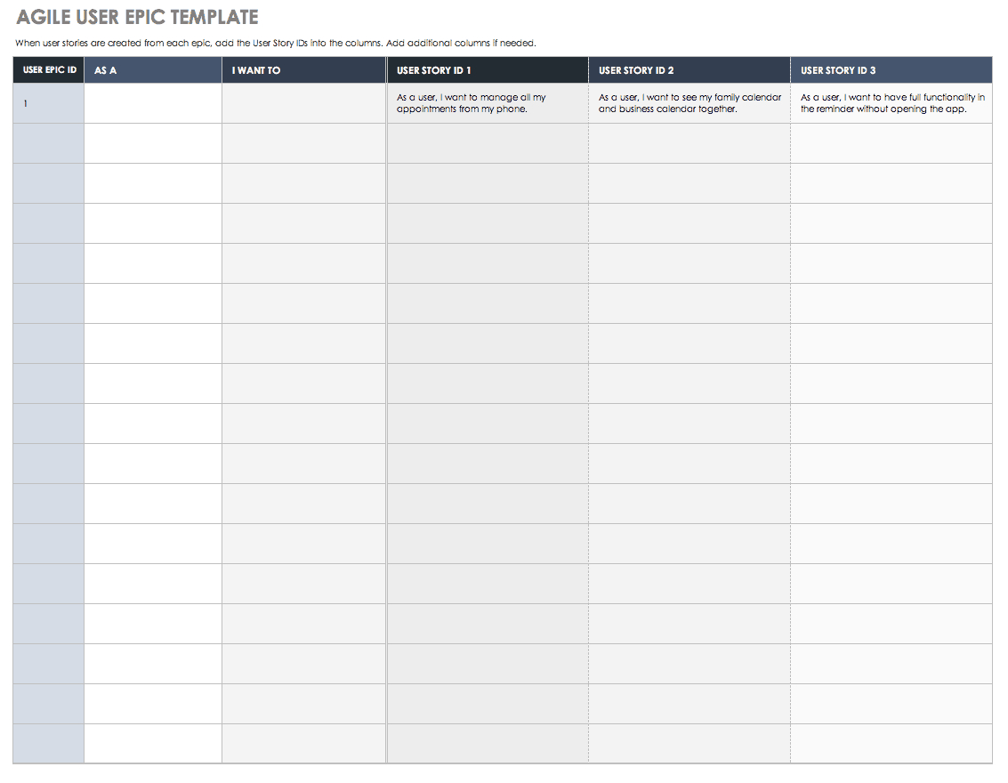 Download Free User Story Templates |Smartsheet Intended For Agile Story Card Template