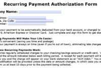 Download Recurring Payment Authorization Form Template with regard to Credit Card Billing Authorization Form Template