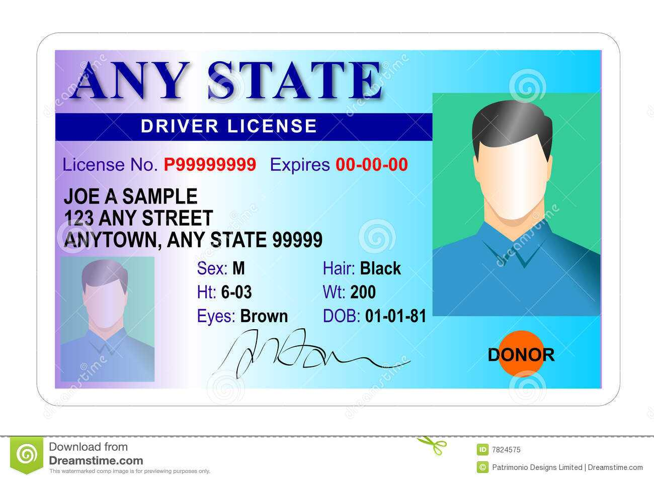 Driver License Identity Card Stock Illustration Within Florida Id Card Template