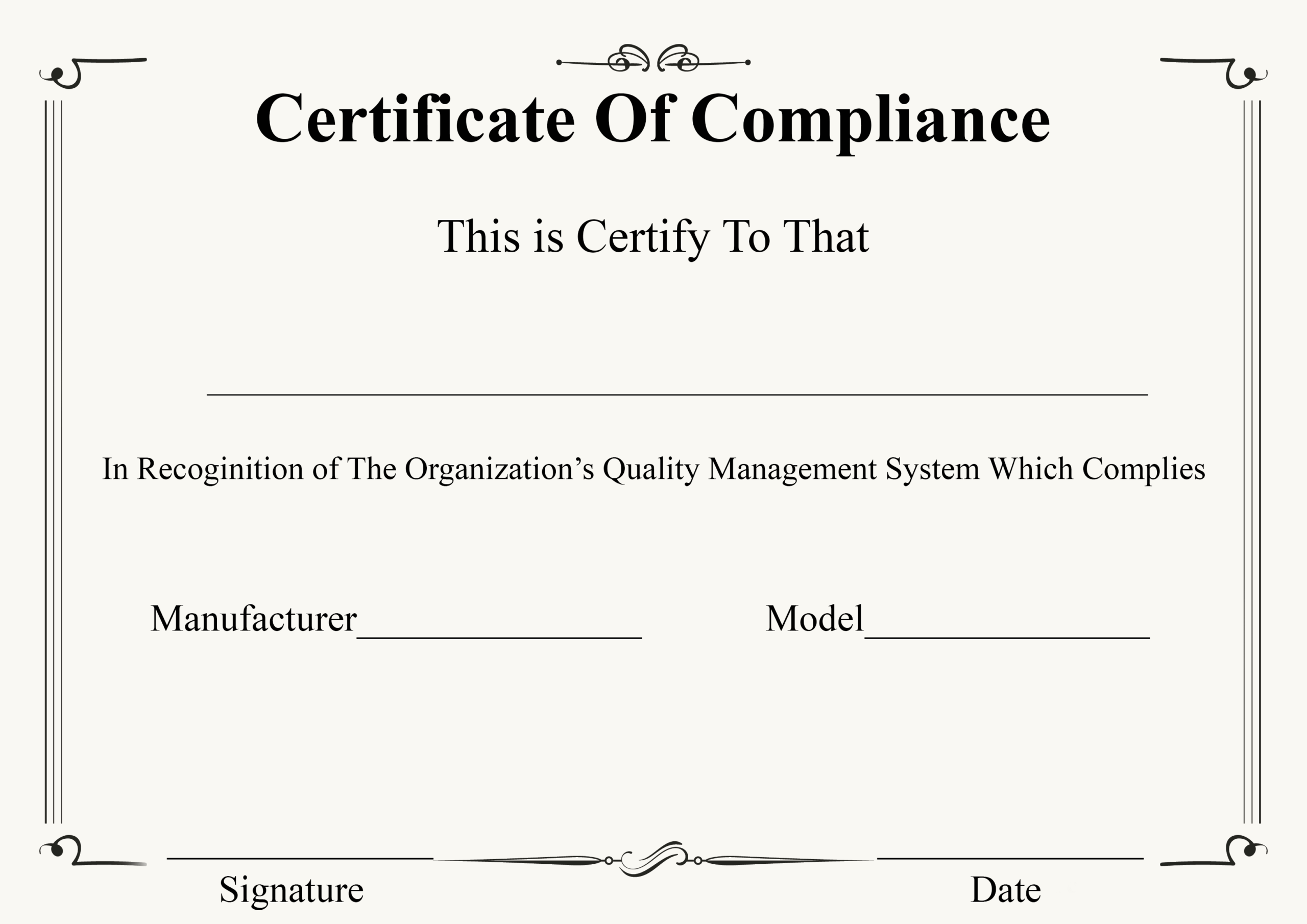 ❤️ Free Certificate Of Compliance Templates❤️ Throughout Certificate Of Compliance Template