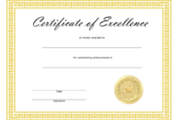 ❤️ Free Sample Certificate Of Excellence Templates❤️ with Award Of Excellence Certificate Template
