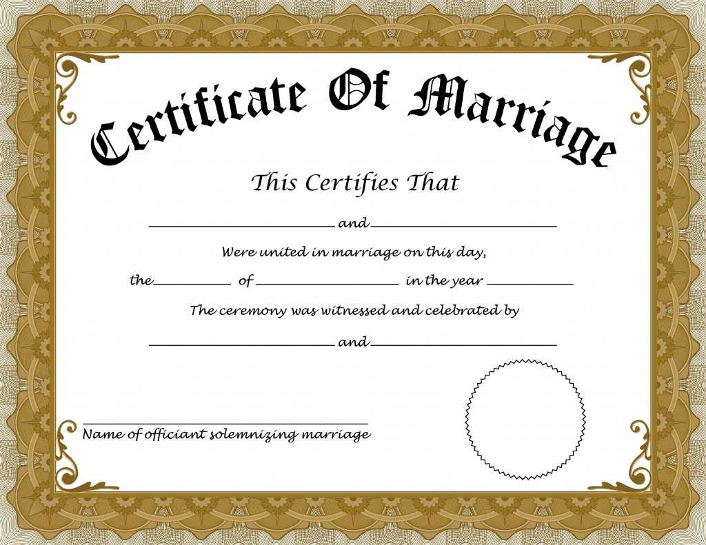 ❤️free Printable Certificate Of Marriage Templates❤️ With Certificate Of Marriage Template