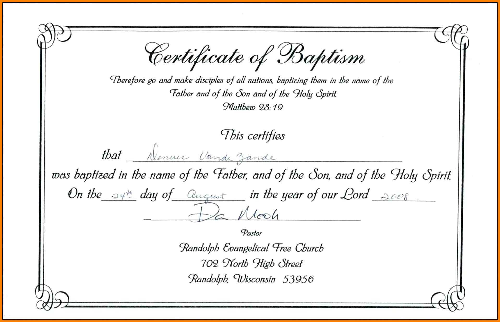 ❤️free Sample Certificate Of Baptism Form Template❤️ With Regard To Christian Baptism Certificate Template