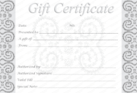 Editable And Printable Silver Swirls Gift Certificate Template for Blank Marriage Certificate Template