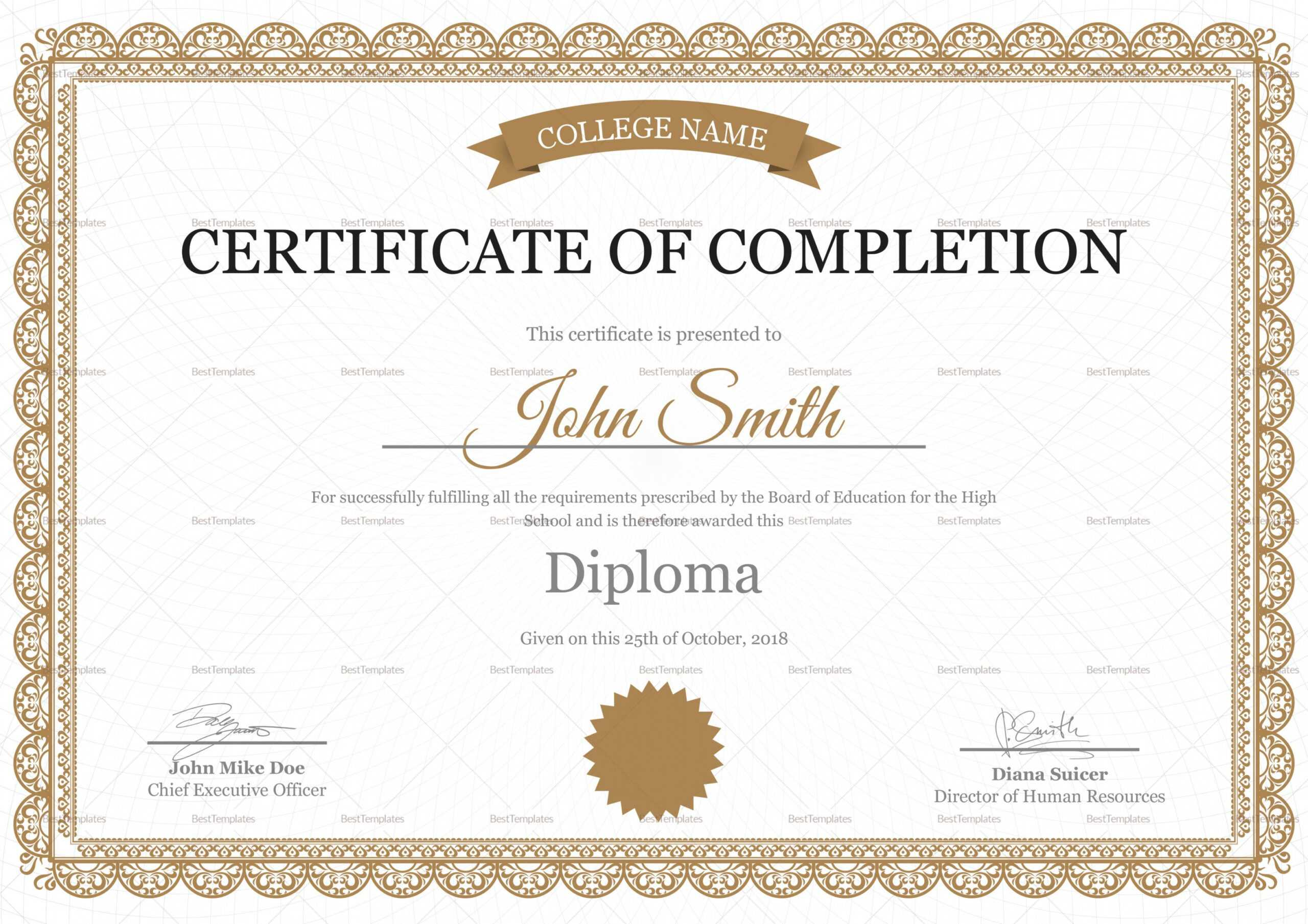 Editable High School Completion Certificate Design Template With Certificate Templates For School