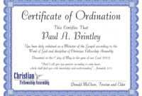 Editable Pastoral Ordination Certificatepatricia Clay in Certificate Of Ordination Template