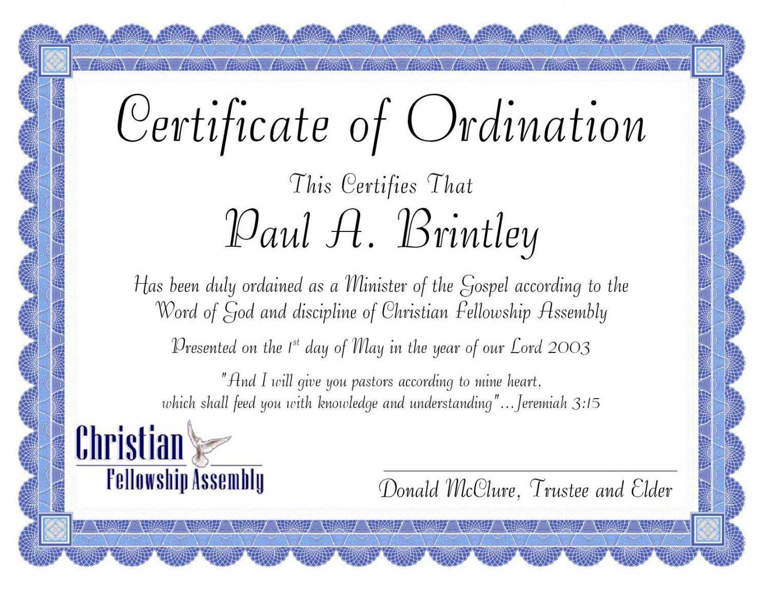 Editable Pastoral Ordination Certificatepatricia Clay Pertaining To Ordination Certificate Templates