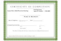 Editable Sample Certificate For Training Completion with Fall Protection Certification Template