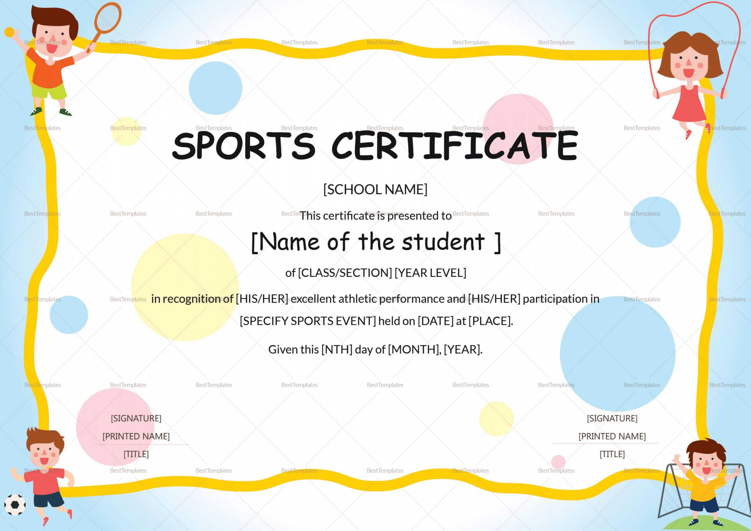 Editable Sports Day Certificate Template Intended For Player Of The Day Certificate Template