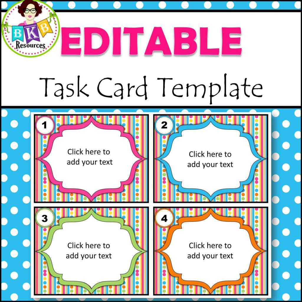 Editable Task Card Templates - Bkb Resources Regarding Task Cards Template