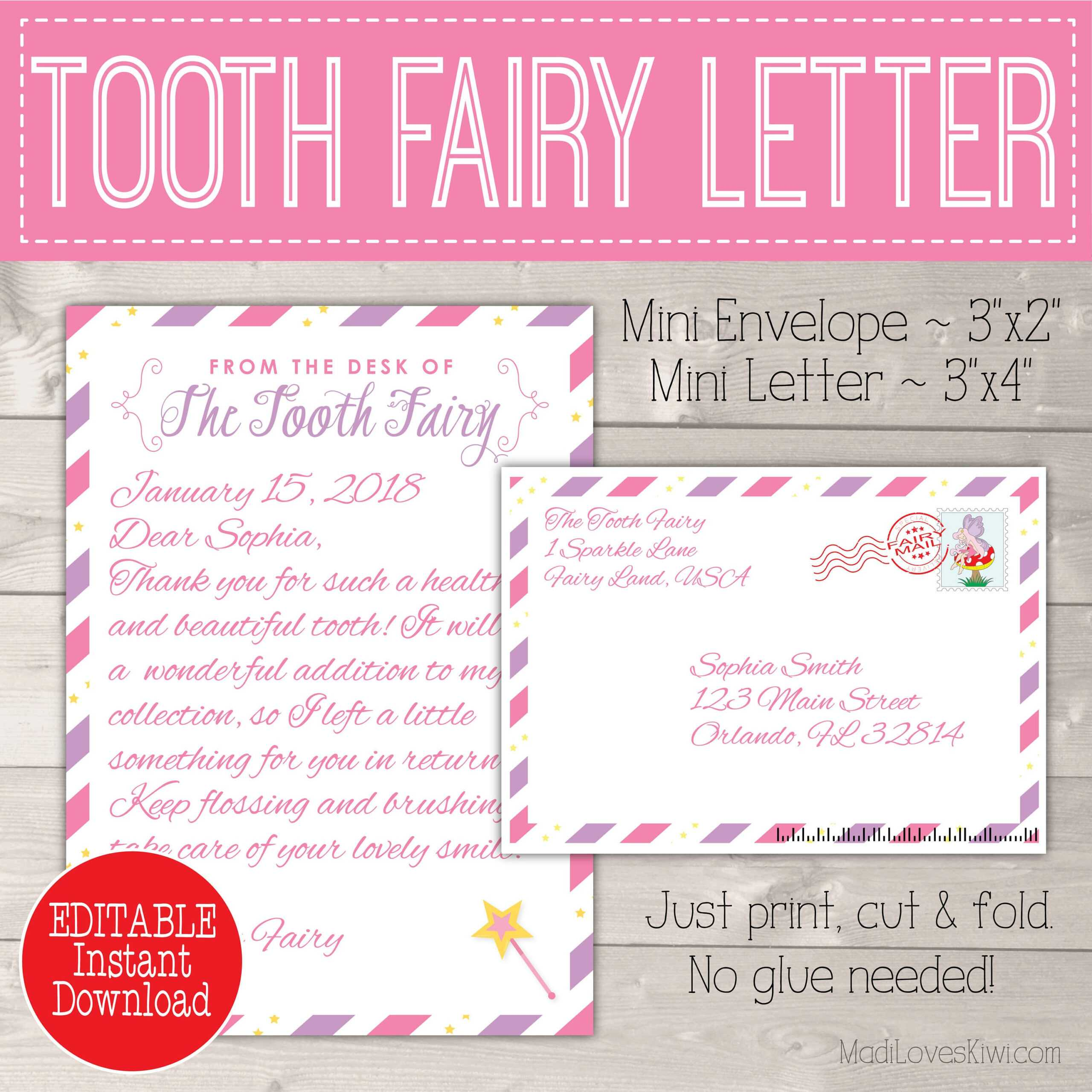 Editable Tooth Fairy Letter With Envelope | Printable Pink Regarding Tooth Fairy Certificate Template Free