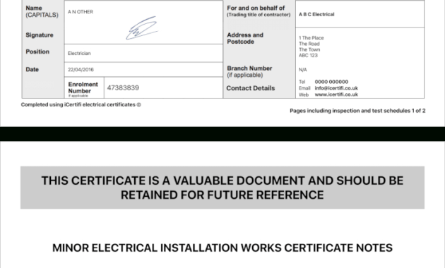 Electrical Minor Works Certificate Template - Sample ...