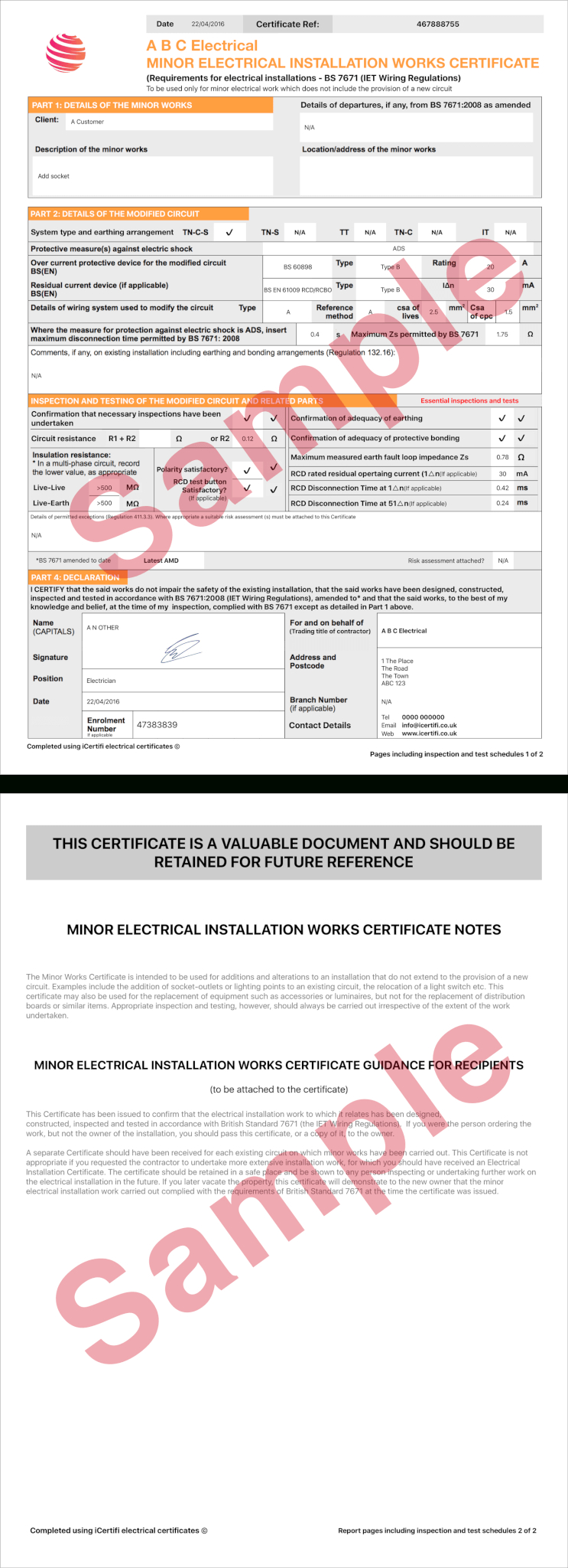 Electrical Certificate - Example Minor Works Certificate Inside Minor Electrical Installation Works Certificate Template