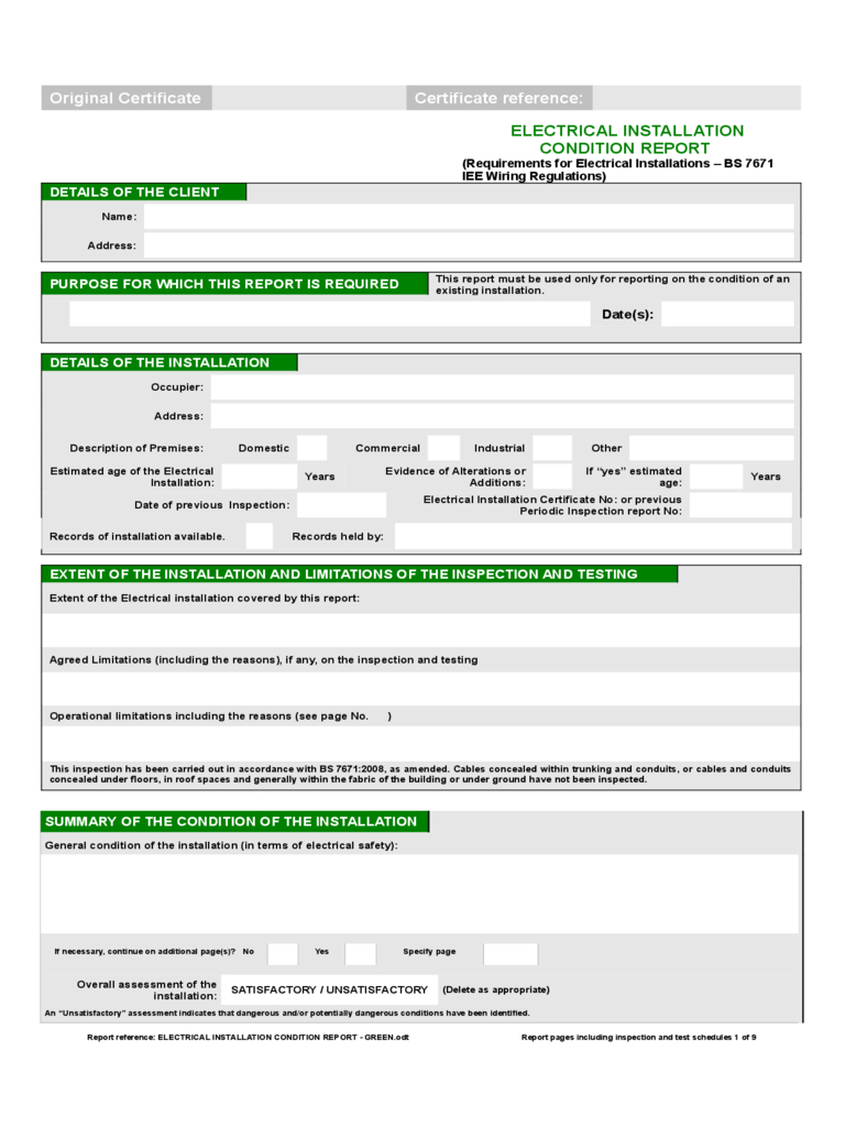 Electrical Installation Condition Report Form – 2 Free Throughout Electrical Installation Test Certificate Template