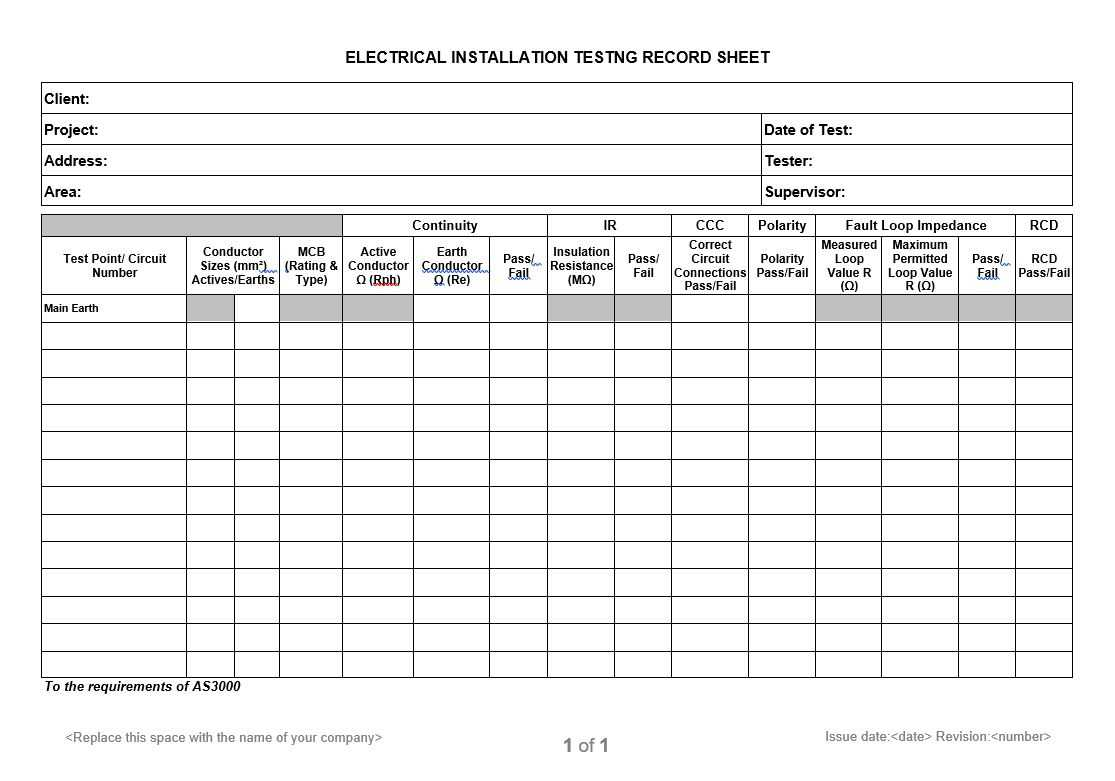 Electrical Installation Testing Record Sheet For Electrical Installation Test Certificate Template