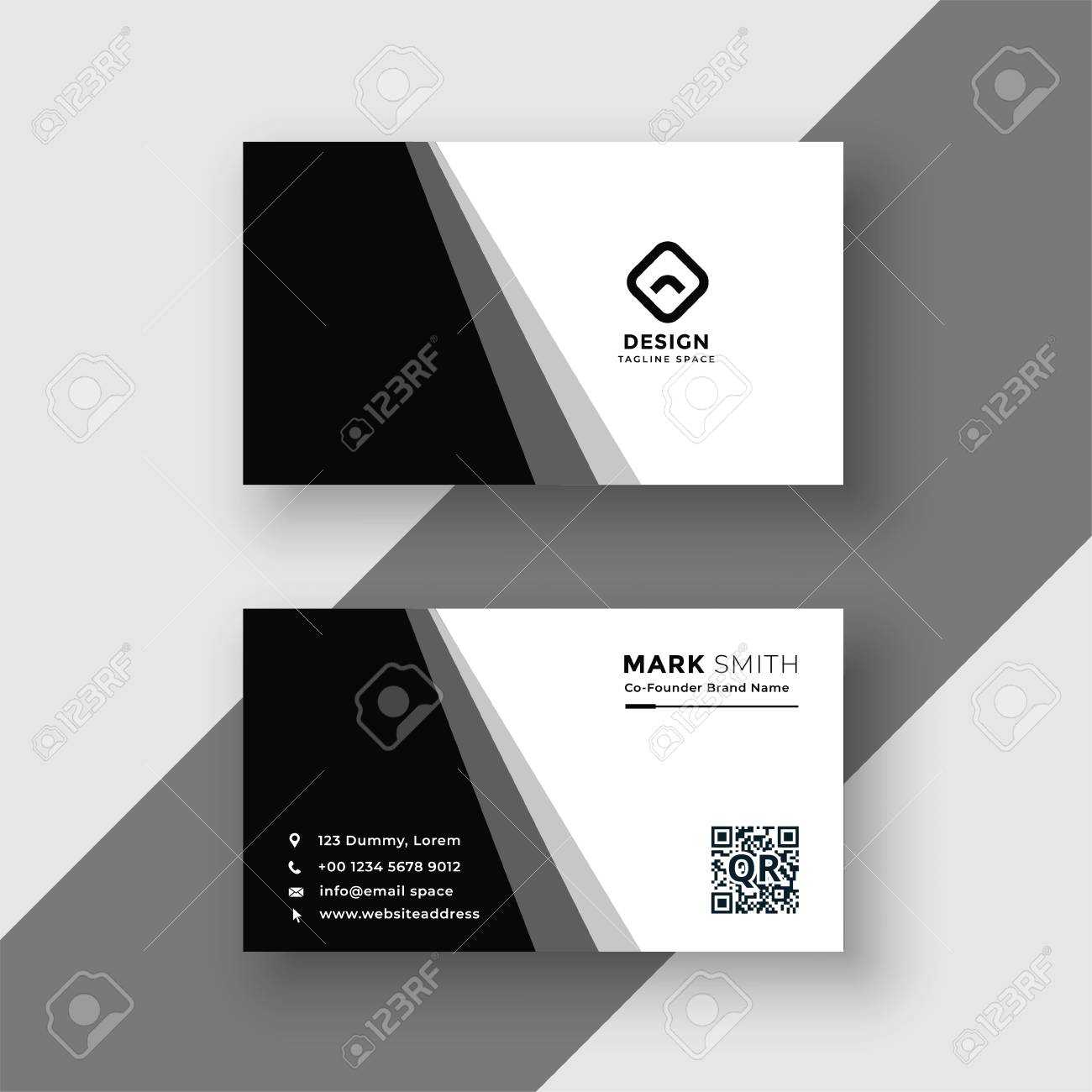 Elegant Black And White Business Card Template Intended For Black And White Business Cards Templates Free