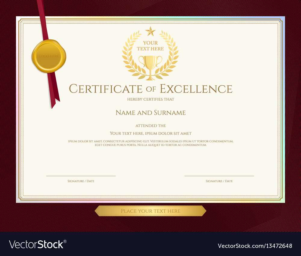 Elegant Certificate Template For Excellence With Regard To Elegant Certificate Templates Free